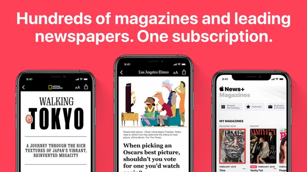 Apple News+ magazine options and text excerpts