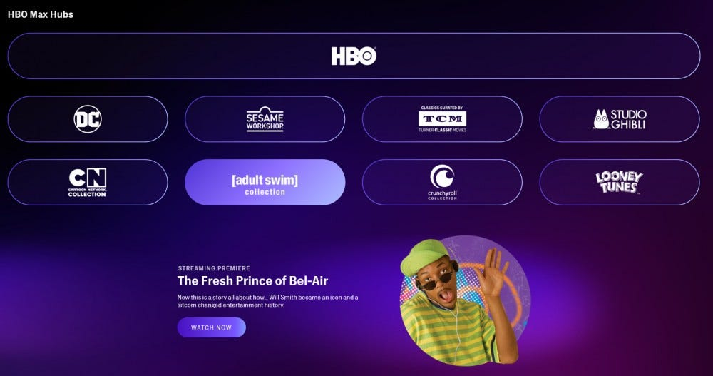 HBO Max interface