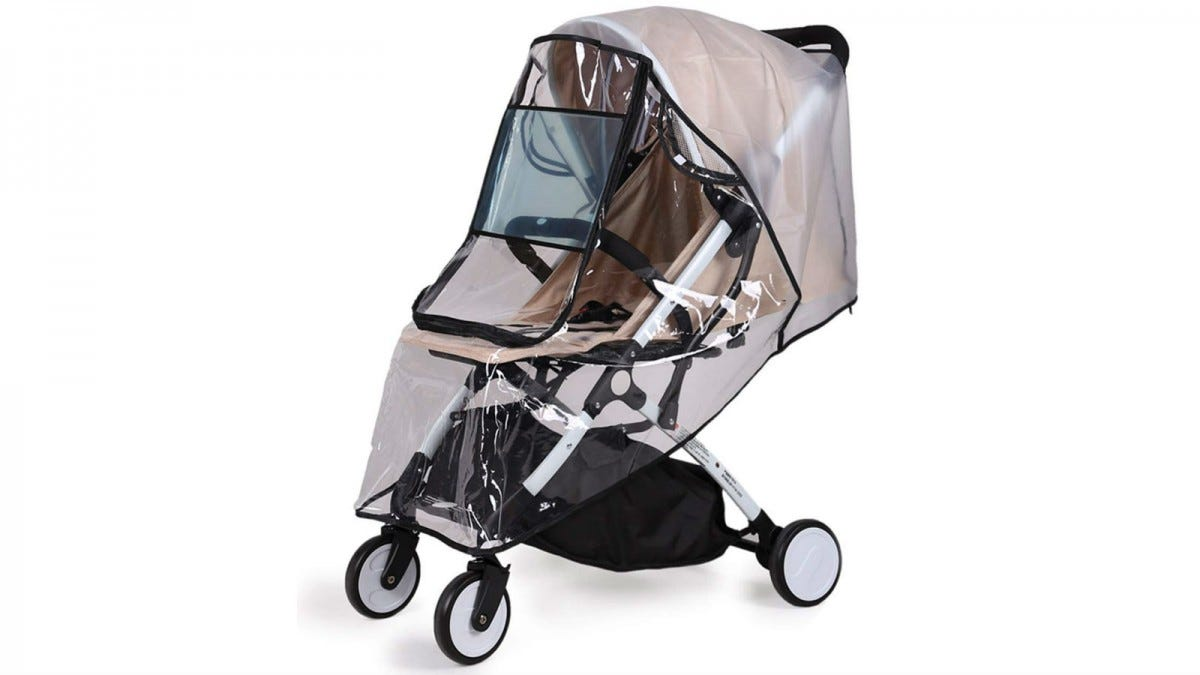 The Bemece Universal Rain Cover on a stroller.