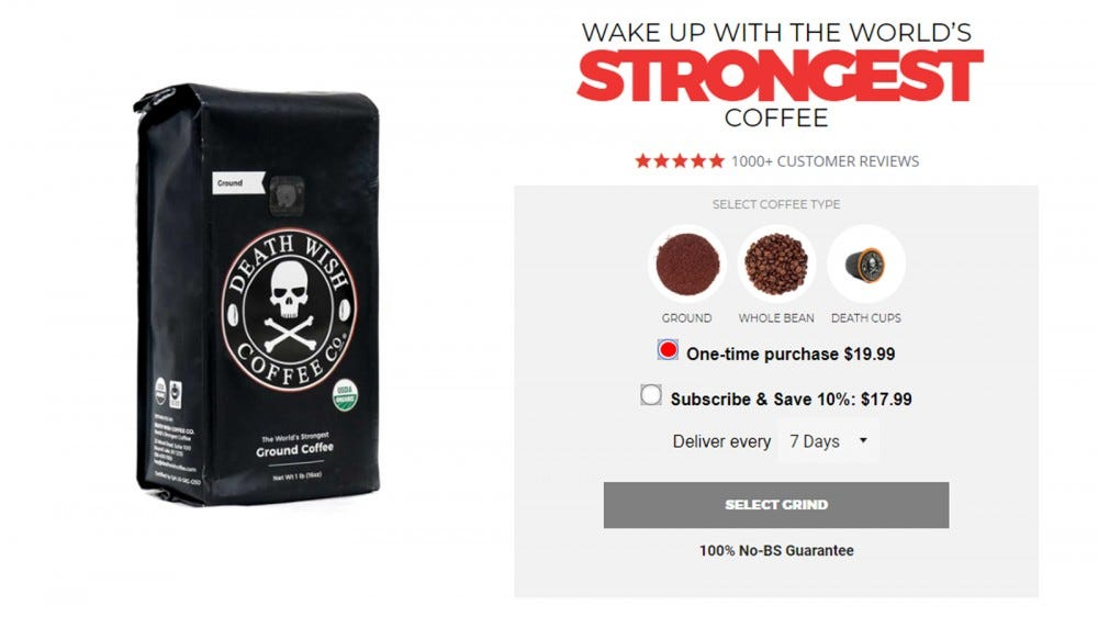 Death Wish best coffee subscription box for strong coffee strongest coffee in the world