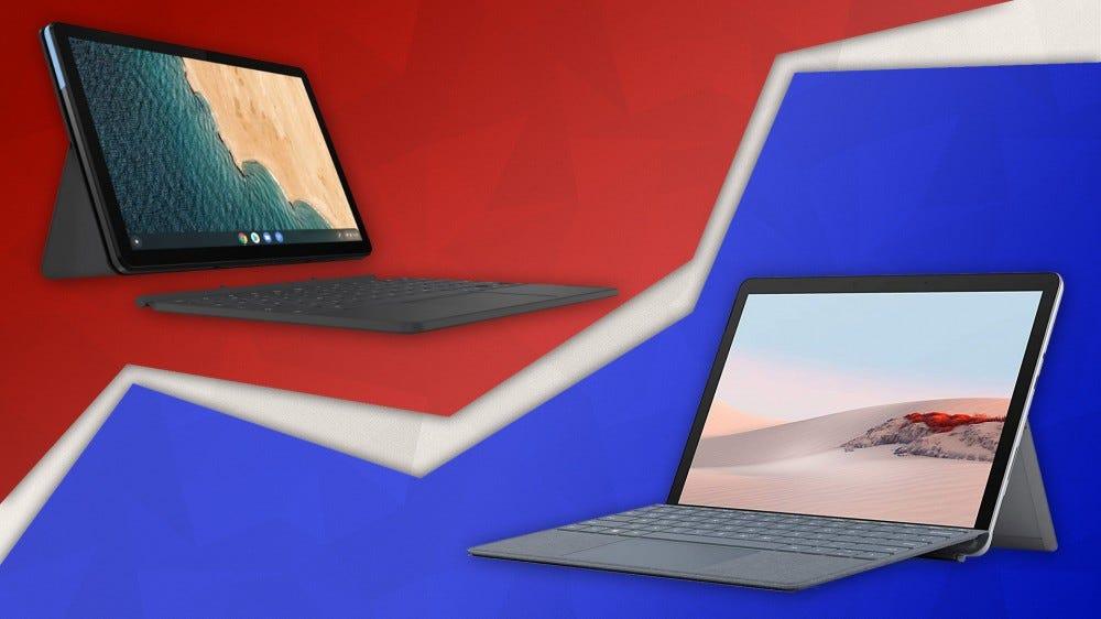 Lenovo IdeaPad Chomebook Duet on left, Microsoft Surface Go 2 on right