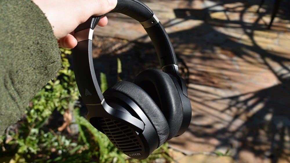 A photo of the Audeze LCD-1s outside.