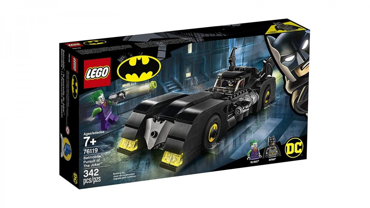 The Batmobile chasing Joker on a LEGO box