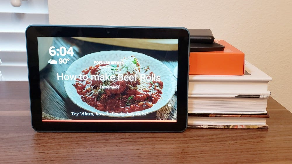 The Fire HD 8 in Echo Show mode.