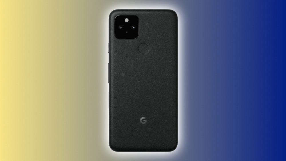 Google Pixel 5 on a blue and yellow background