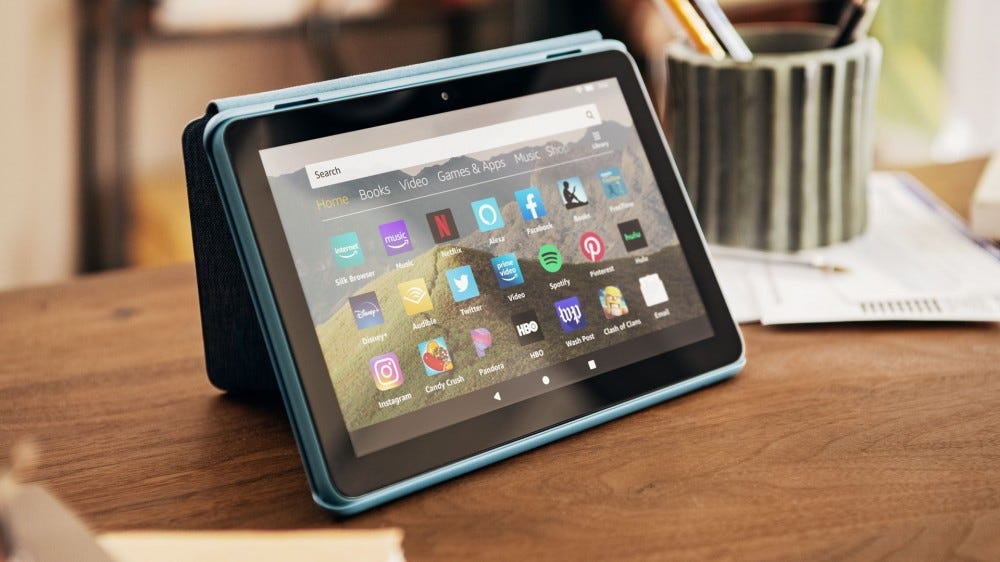 A photo of the new Kindle Fire HD 8 Tablet.