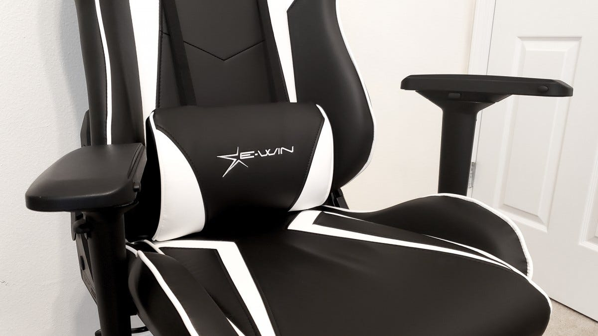 The EWin Chair with its armrests in wonky positions.