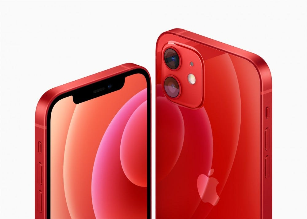 The Apple iPhone 12's angular design in Product Red