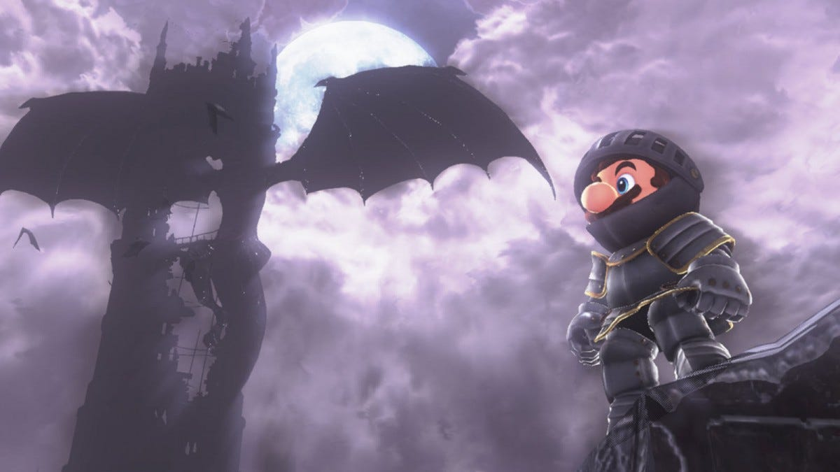 Mario dressed in armor with a dragon behind him.