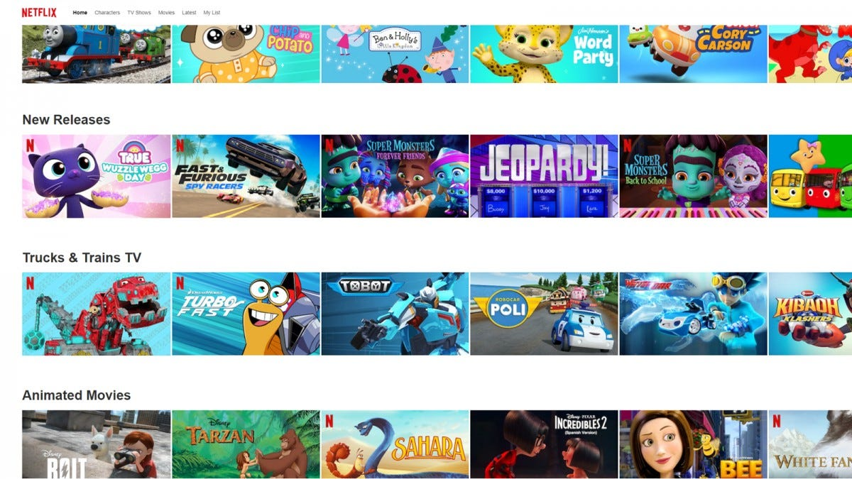 A listing of kid's shows in Netflix---along with Jeopardy for some reason.