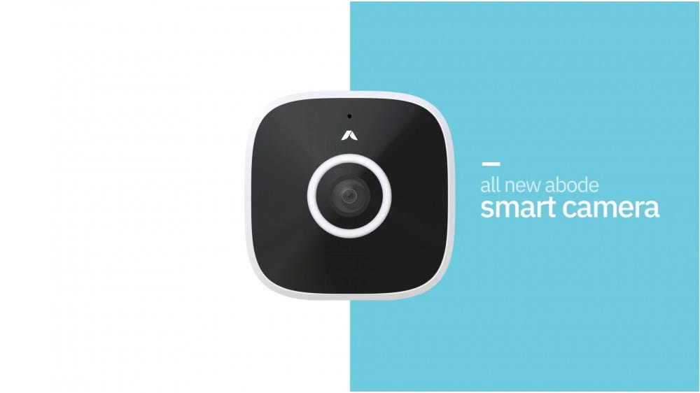 Abode Outdoor Smart Camera against a blue and white background