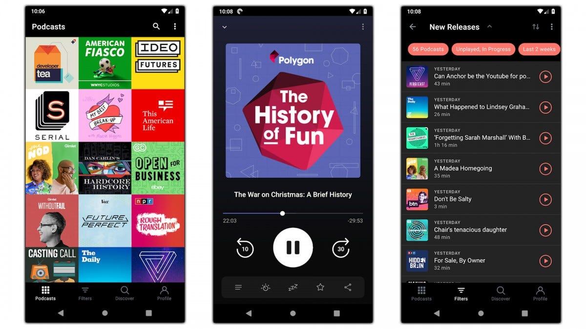 Screenshots of the Pocket Casts app