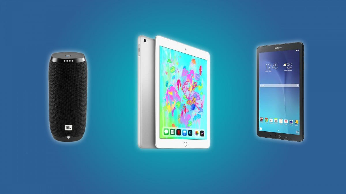 The JBL Link 20, the iPad, and the Galaxy Tab E
