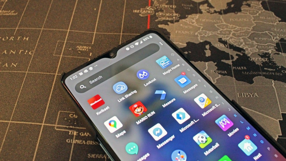 An Android phone with Lookout in the app list.