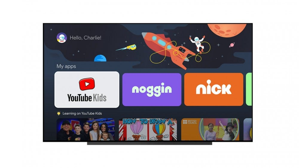 A Chromecast interface with a kids profile shown.
