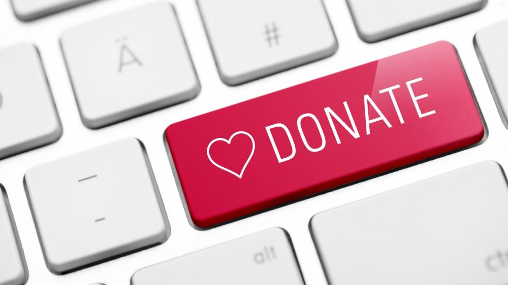 online donate key on computer keyboard