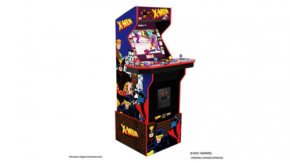A full-sized 'X-Men' arcade machine.