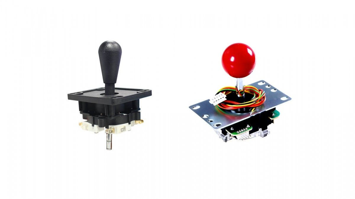 A Happ Joystick next to a Sanwa Joystick.