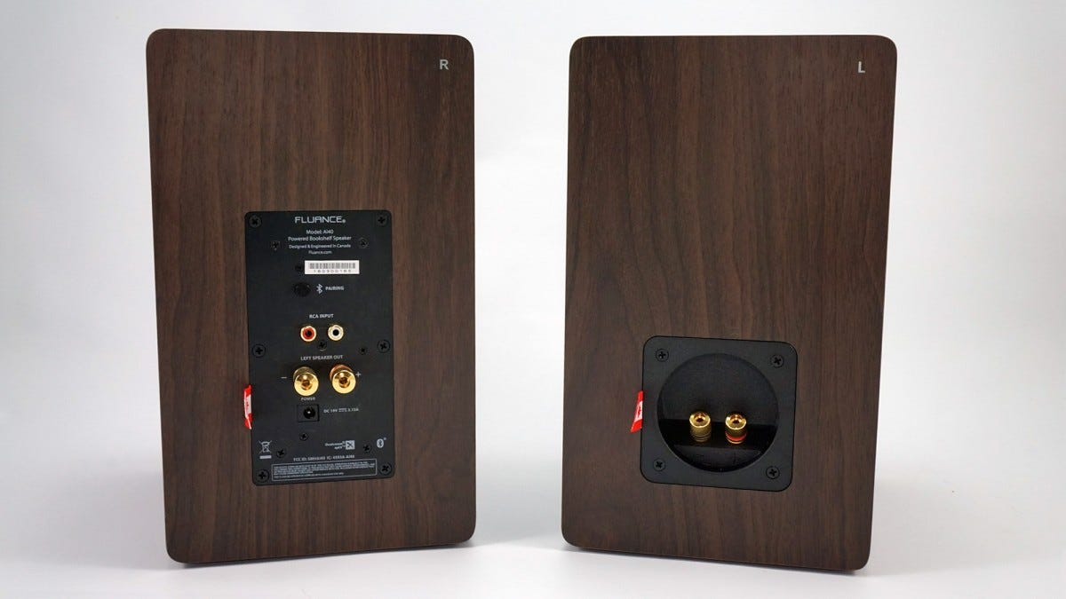 The RCA and Bluetooth inputs on the backs of the Fluance Ai40 speakers.