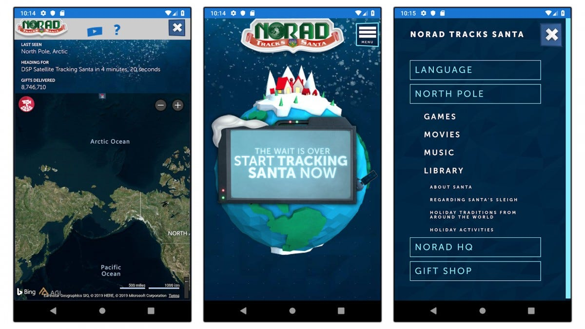 Screenshots of the NORAD app