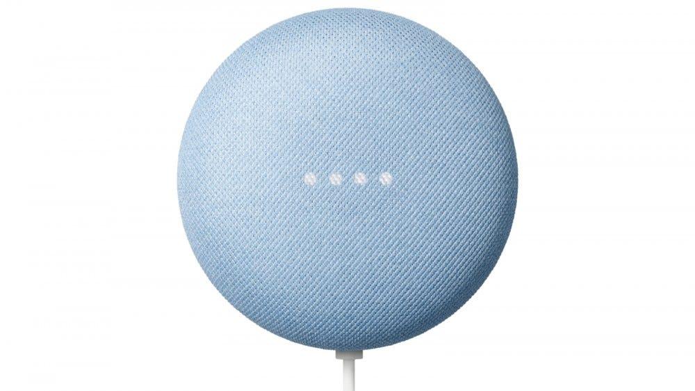 Google Nest Mini smart speaker in sky blue