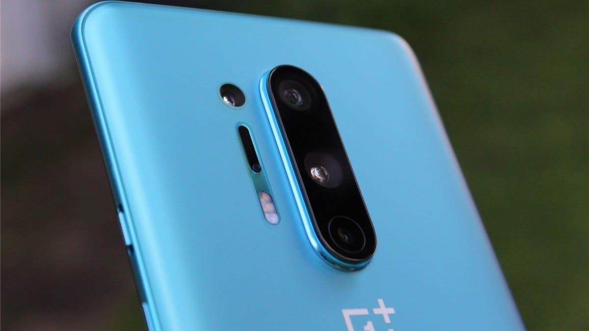 A closeup of the OnePlus 8 Pro camera array.