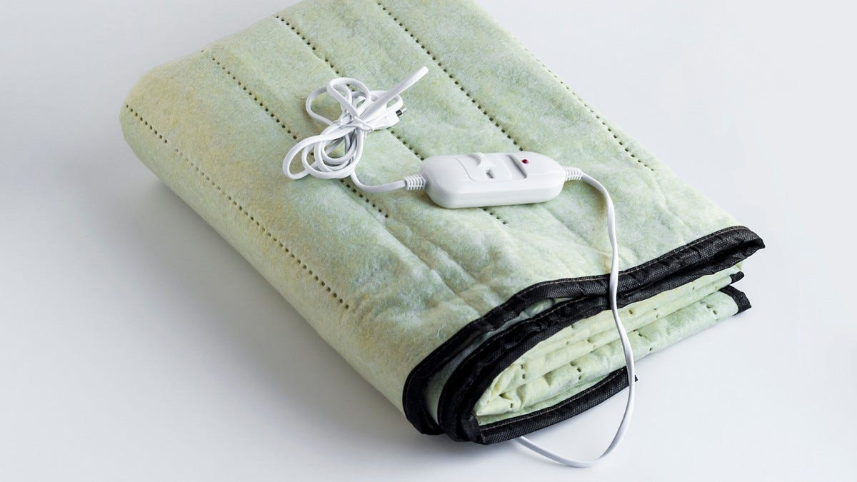 An electric blanket folded up.