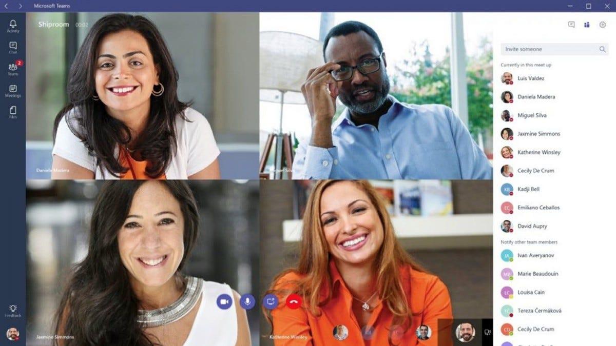 Four people talking in a Microsoft Teams window.
