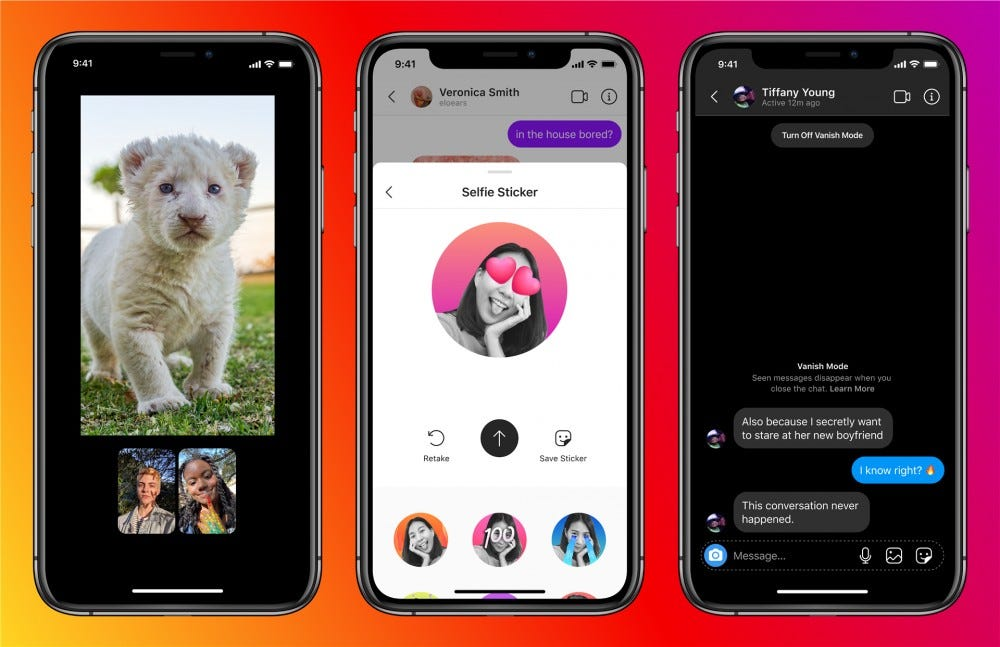 Some of the new Messenger features on IG