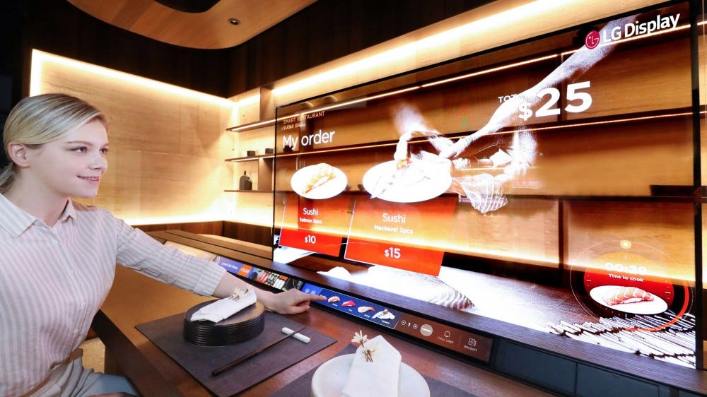 LG transparent OLED sushi demonstration