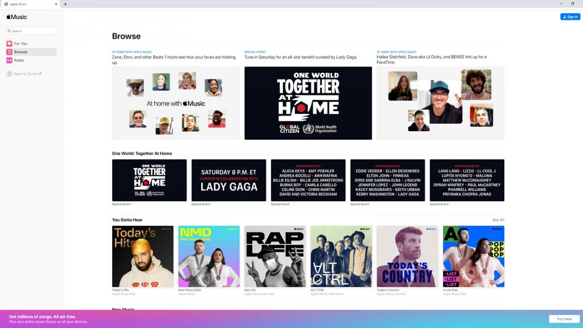 The Apple Music browser interface.