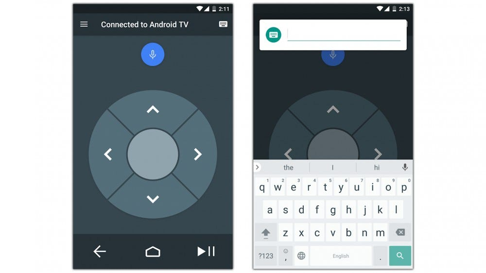 Screenshots of Android TV Remote Control app.