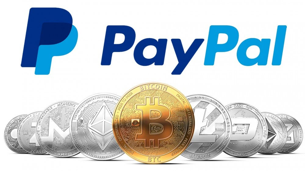 Paypal logo over cryptocurrency coins