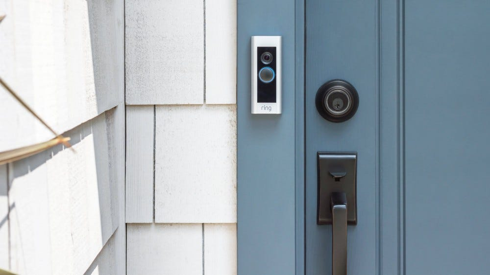 A Ring Video Doorbell Pro mounted on a house.