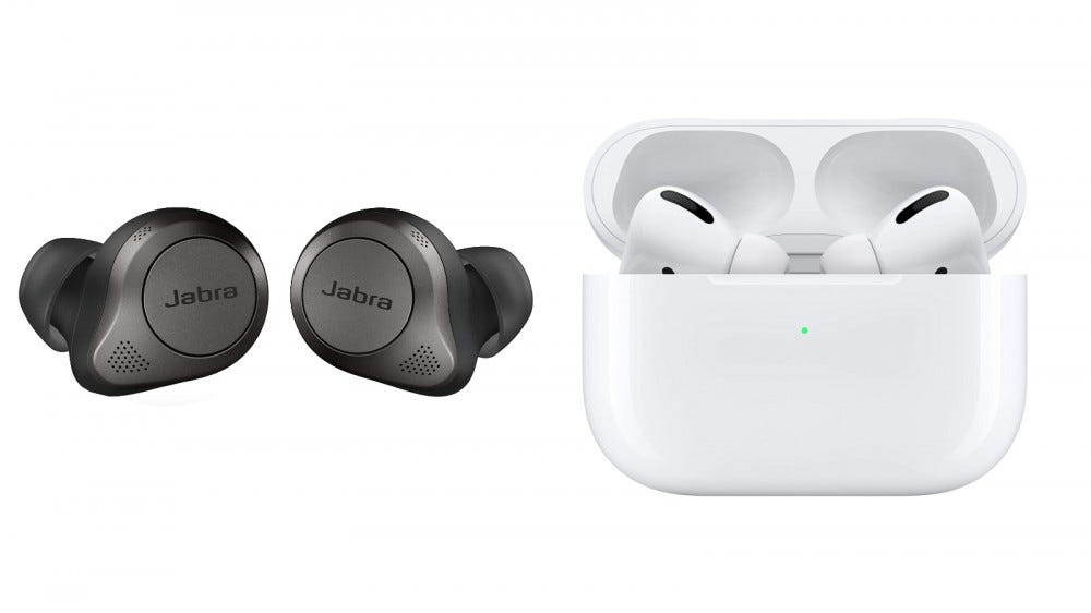 Jabra Elite 85t True and Airpods Pro