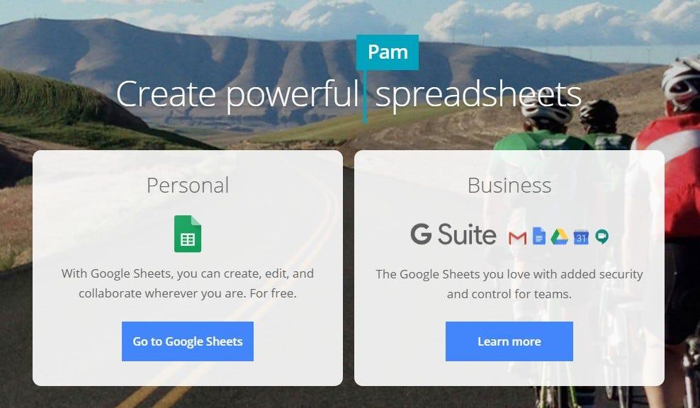 Google Sheets website