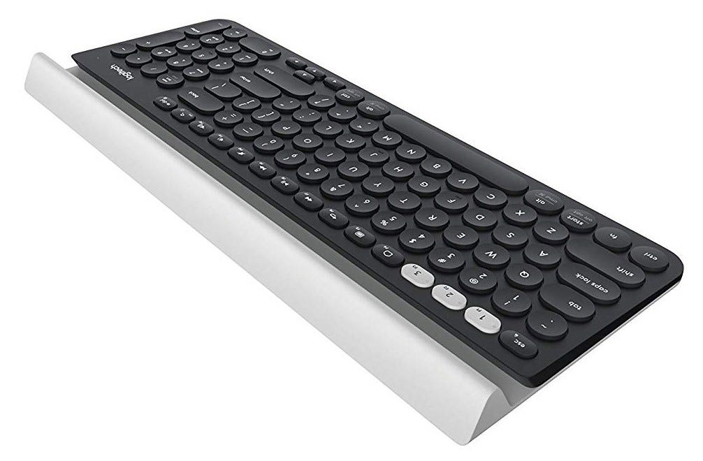 Logitech K780 keyboard from the front.