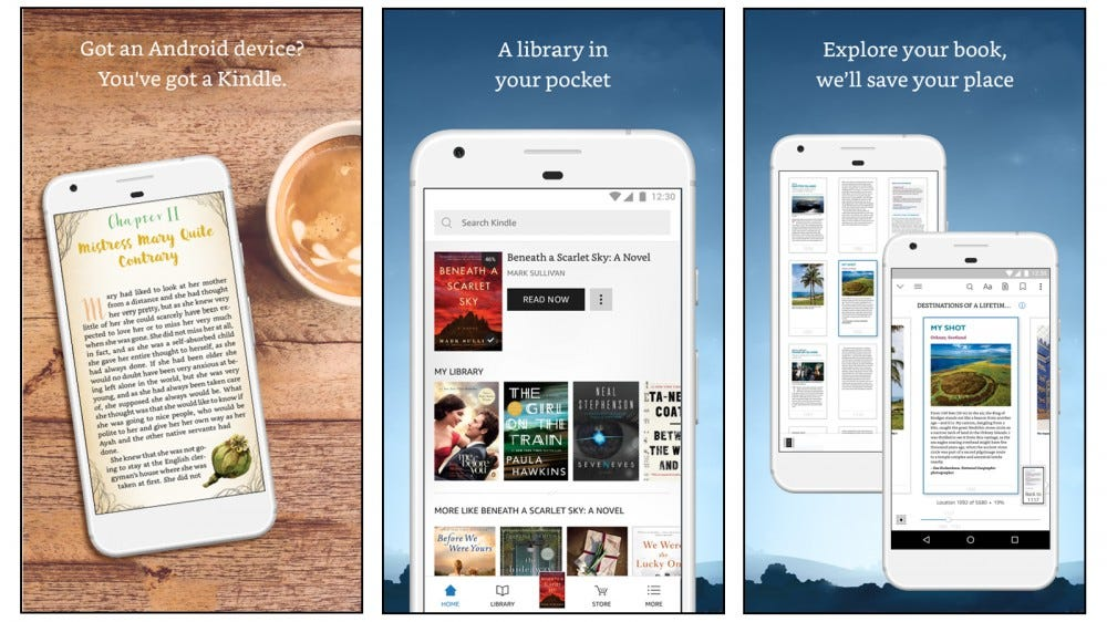 Amazon Kindle best book reading app buy ebooks upload your own ebooks buy listen to audiobooks audible