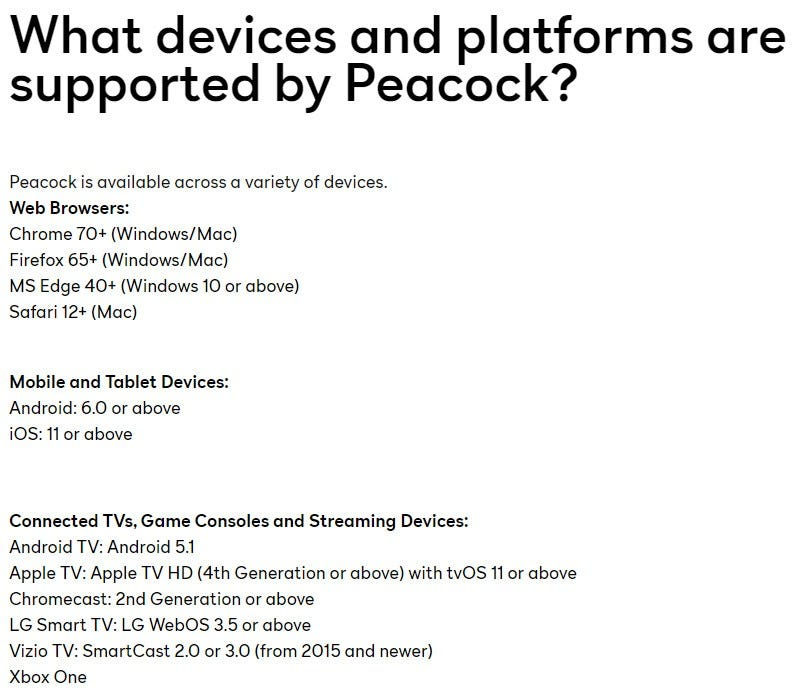 screenshot of Peacock TV's supported app platforms