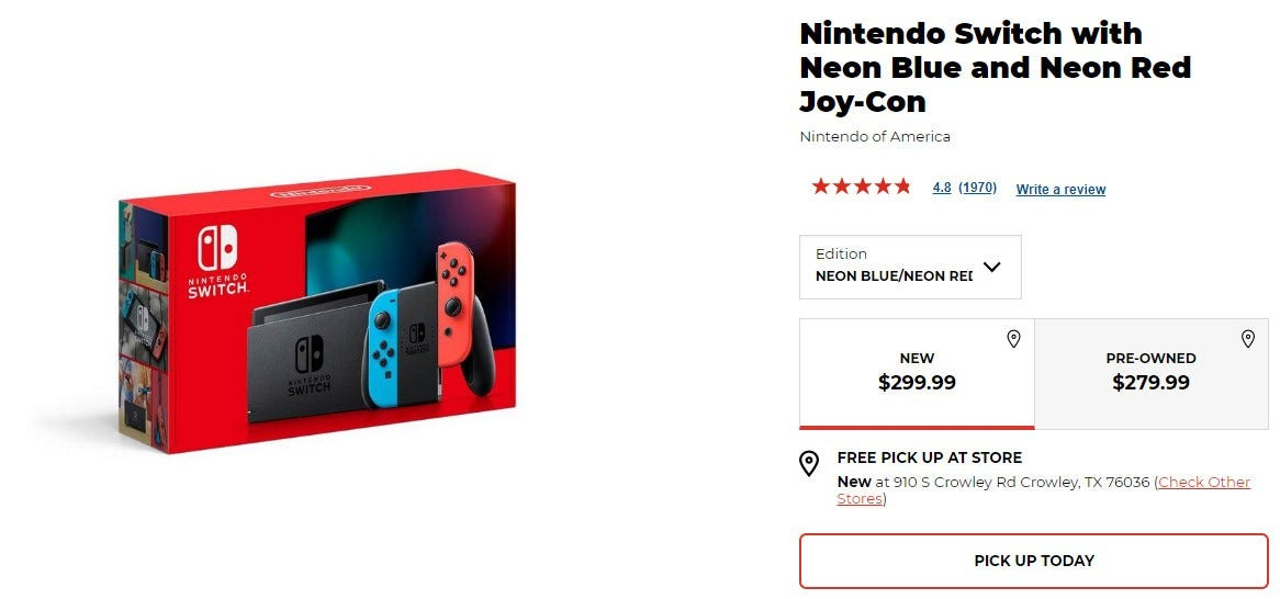 A screenshot of a Switch sale page.