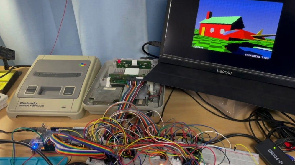 SuperRT chip running ray tracing graphics on the Super Famicom