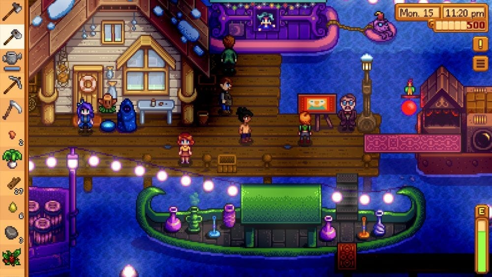 Fishing pier in Stardew Valley