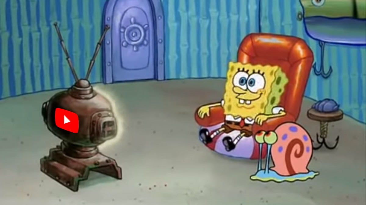 Spongebob watching YouTube TV