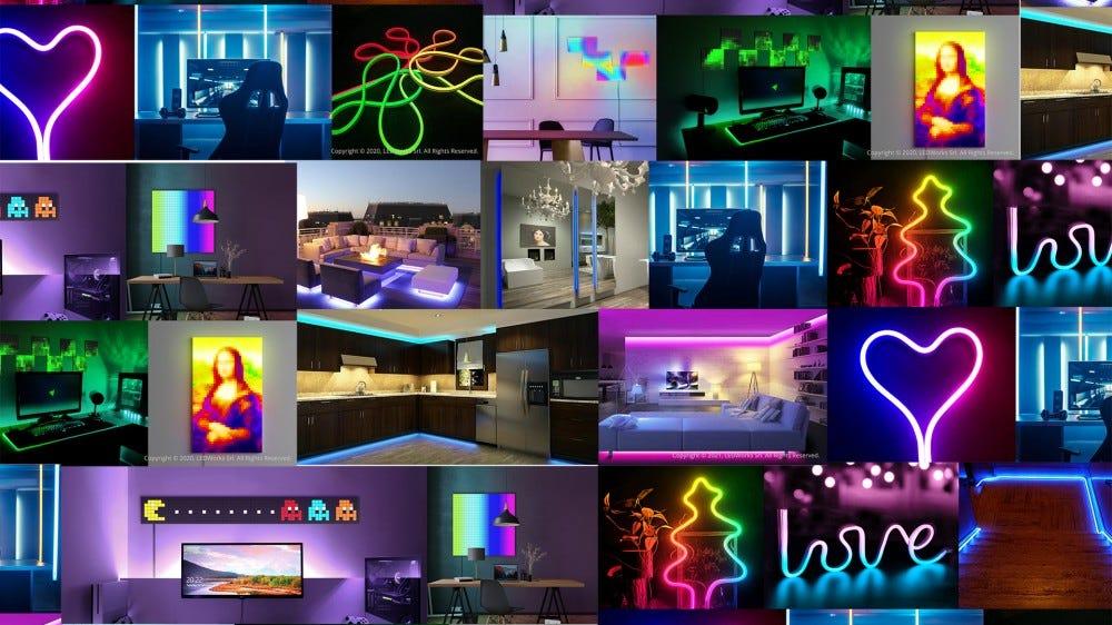 Különböző formájú és formájú LED-es lámpák sora.