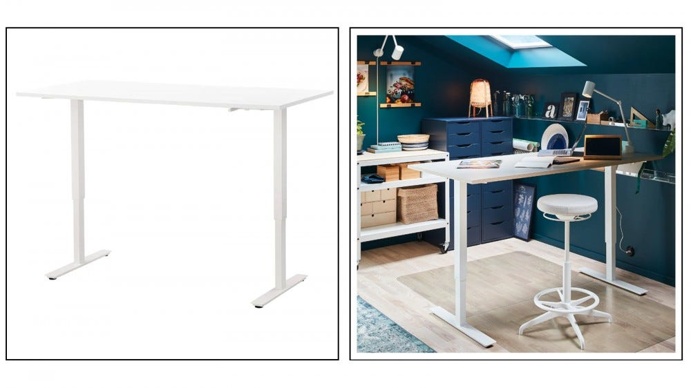 Ikea Skarsta manual crank standing desk with cable management