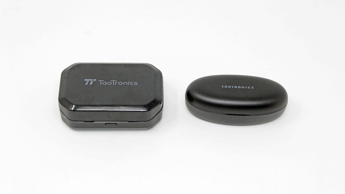 The old TaoTronics earbud case next to the new one.