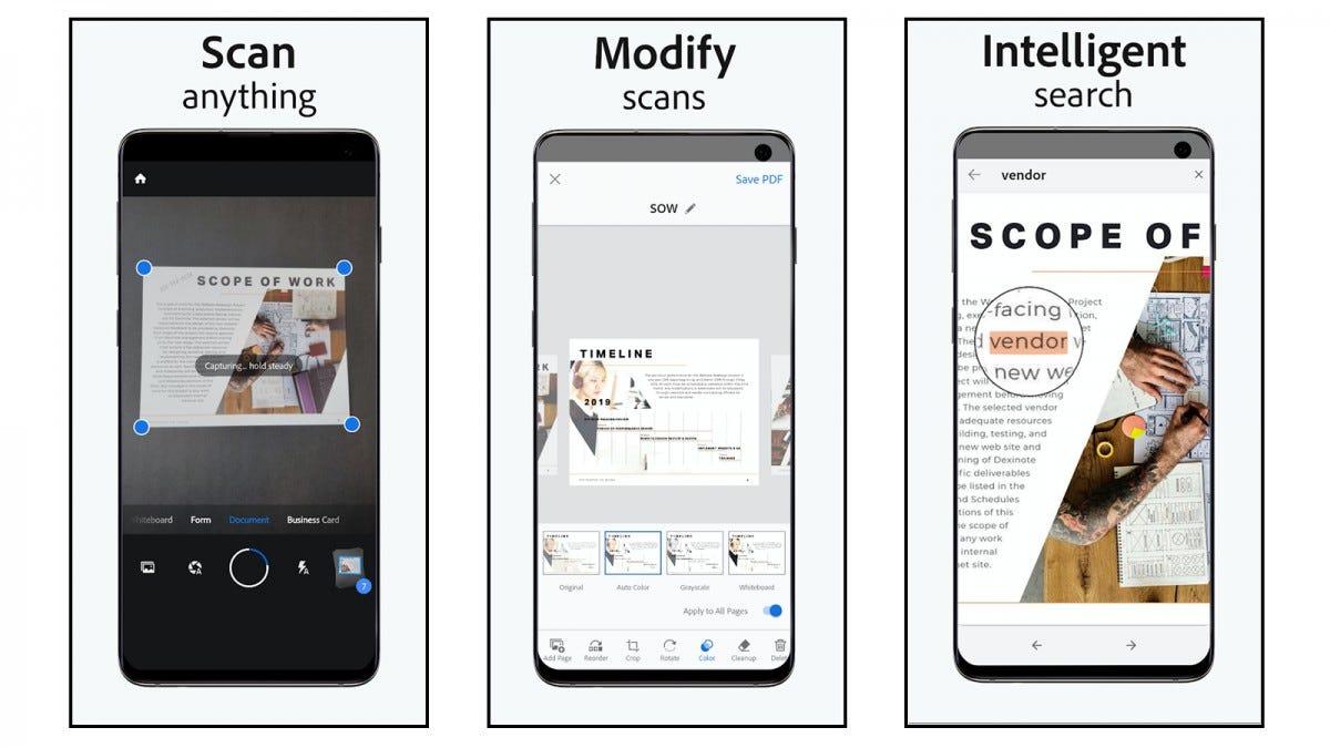 Adobe Scan app screenshots