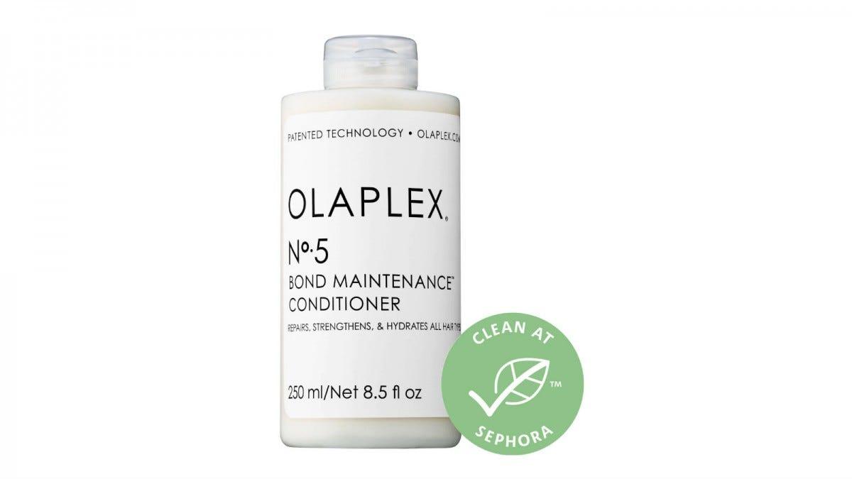 A bottle of Olaplex No. 5 Bond Maintenance Conditioner.