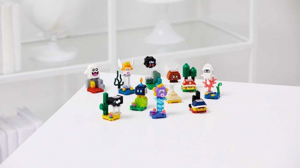 The LEGO Mario character pack, featuring ghosts, flying goomabs, squids, and more.
