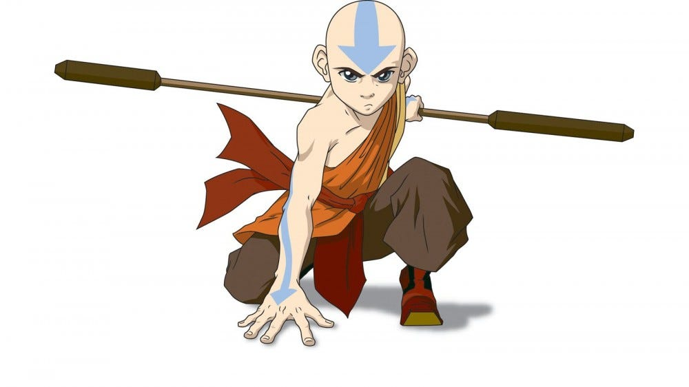Aang with an airbender staff in courched position.